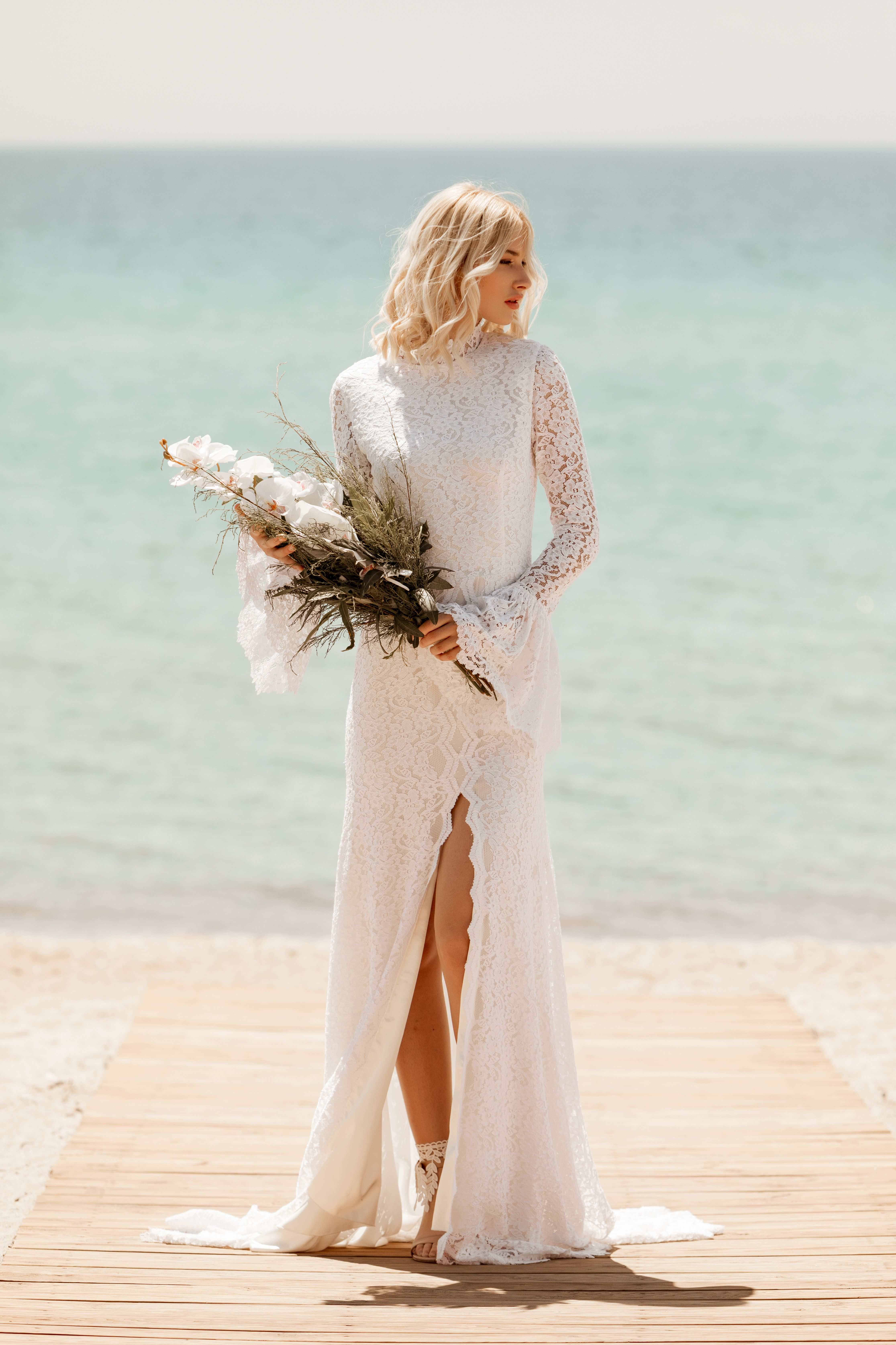 Virginia High Neck Mermaid Lace Wedding Dress in 20   Lace ...