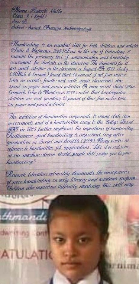 The handwriting of Prakriti malla, the class VIII student