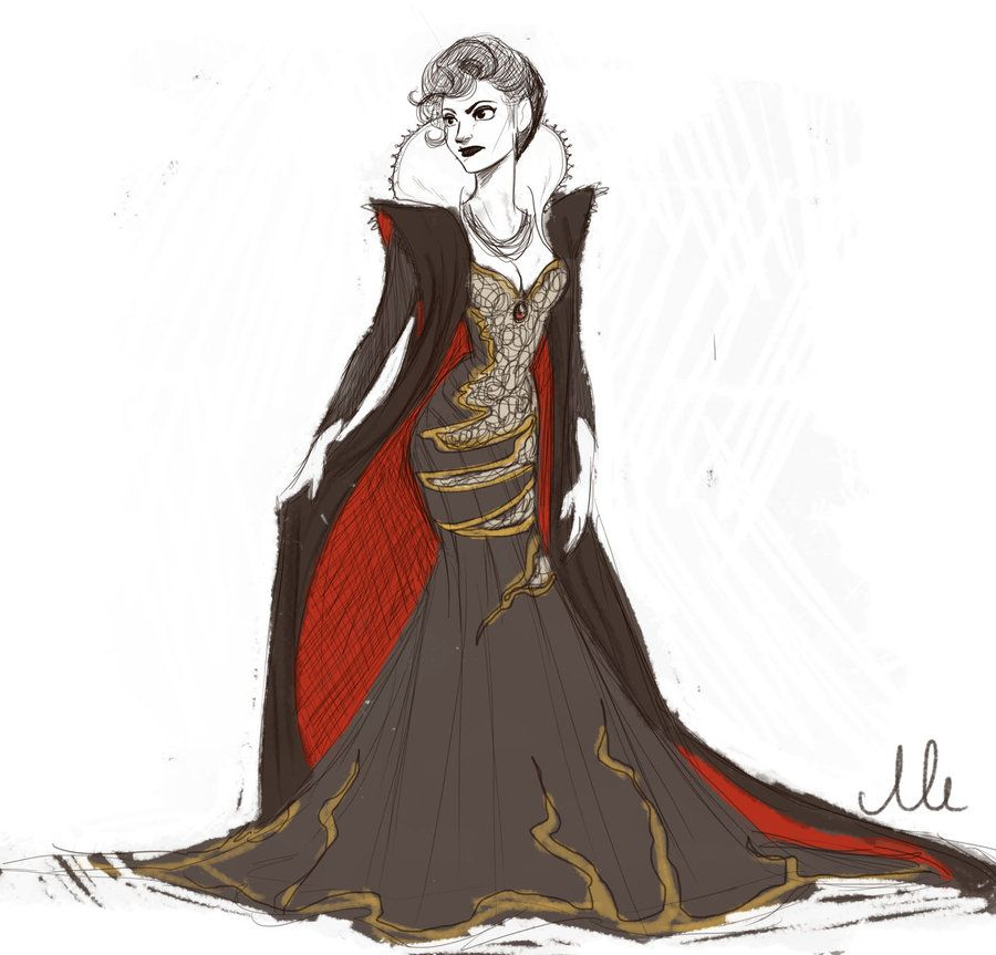 How to draw evil queen dress snow white