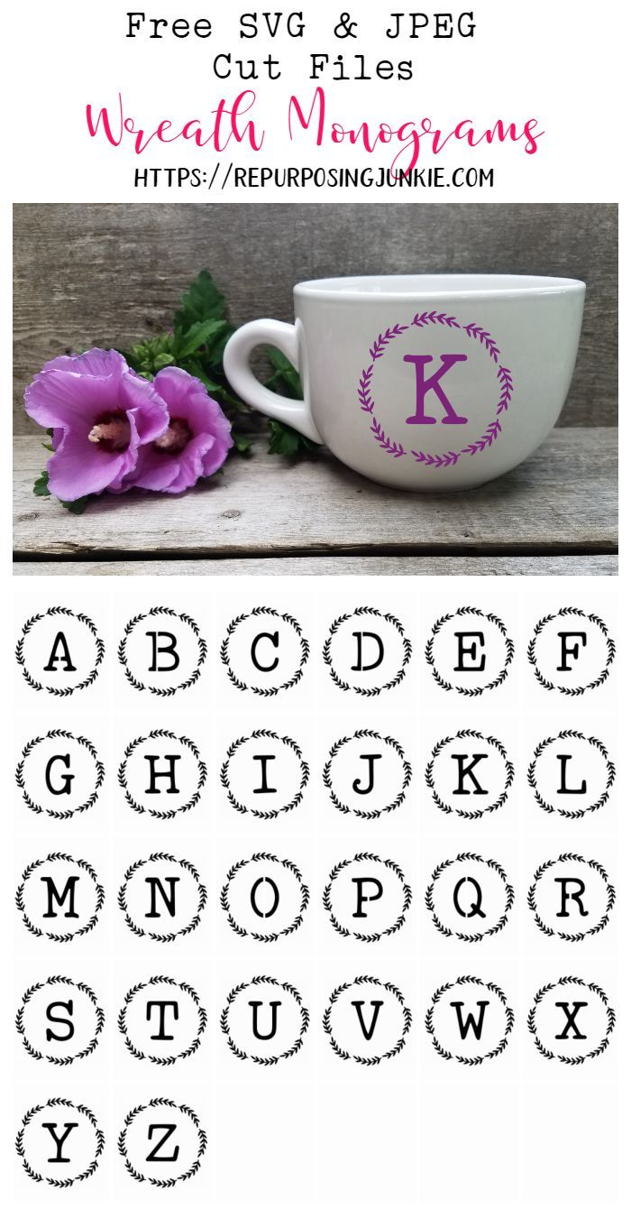 Free SVG and JPEG Initial Alphabet Wreath Cut Files - Repurposing Junkie