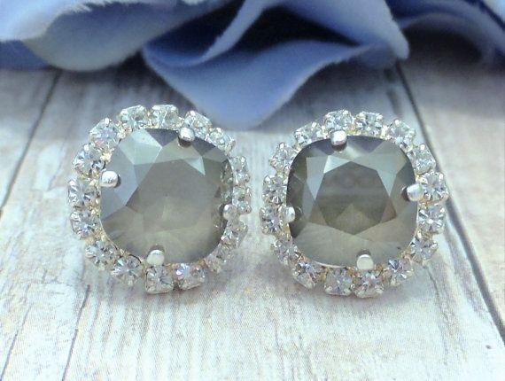 SWAROVSKI CRYSTAL EARRINGS, crystal halo, 10mm, stud, crystal satin, bridal, bridesmaid, square, cushion cut. dksjewelkrydesigns