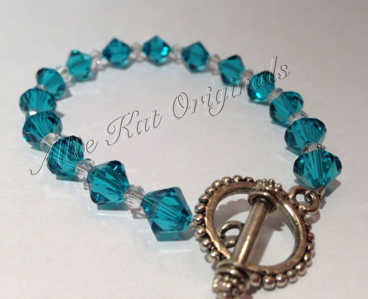 Turquoise and clear Swarovski bracelet. On Etsy https://www.etsy.com/your/listings?ref=si_your_shop