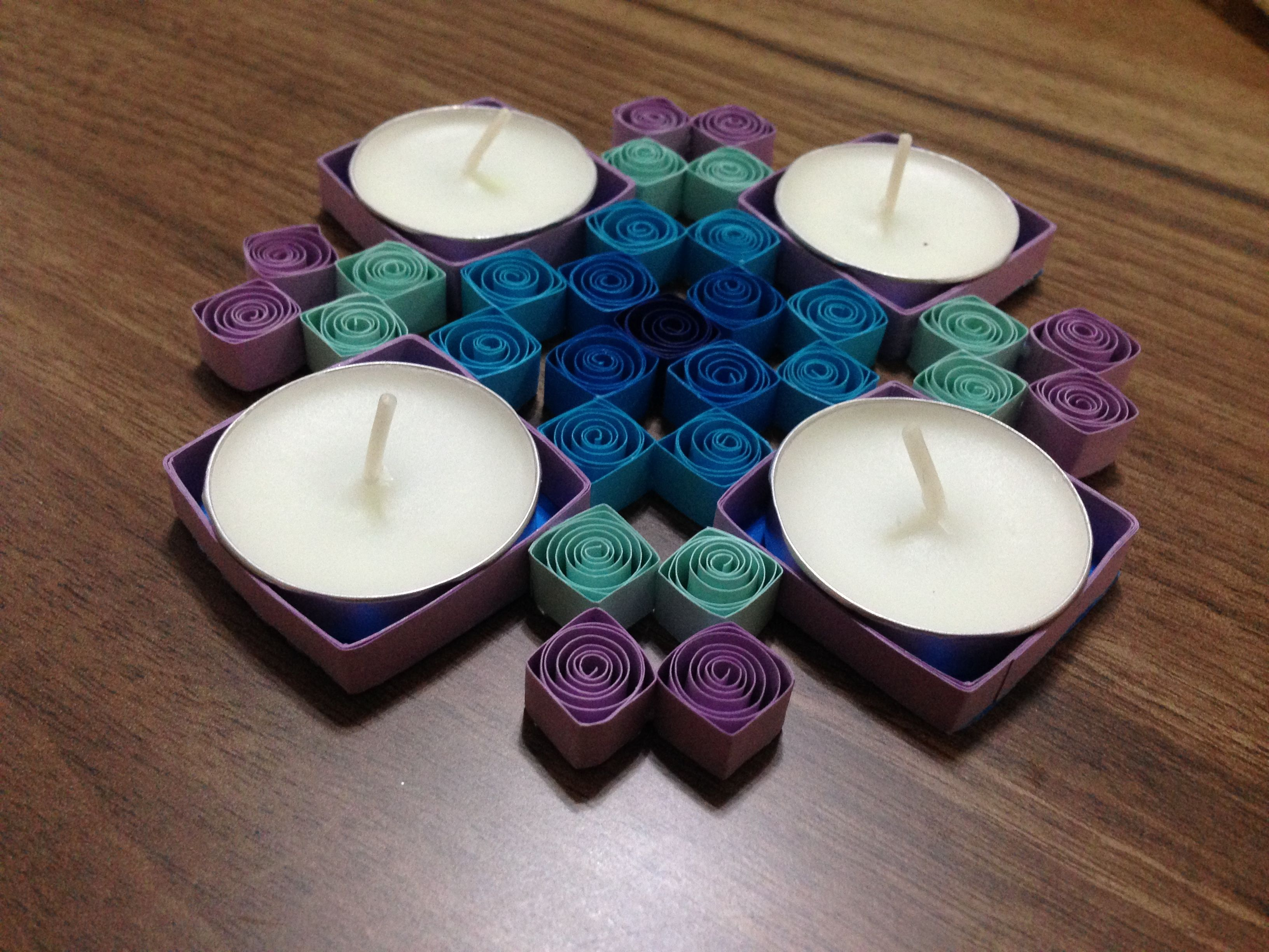 Quilling tealight candle holder quilling tutorials for Cardboard candle holders