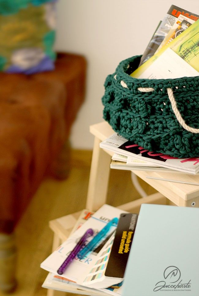 KIT GREEN TREE BASKET - Sacocharte #crochet #ganchillo