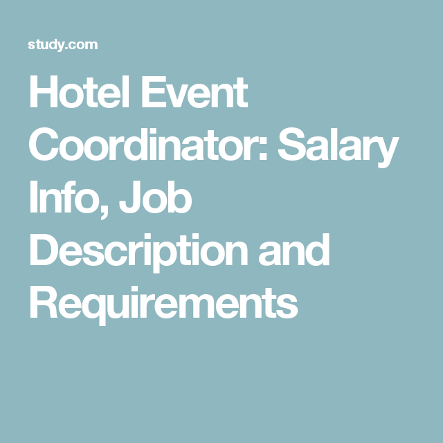Hotel Event Coordinator Salary Info Job Description And