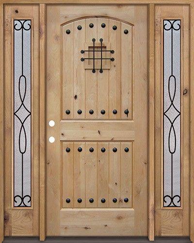 Rustic Knotty Alder Wood Door Unit With #299 Sidelites
