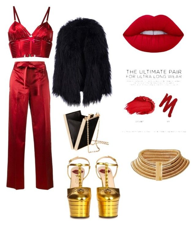 """""""Scarlet 💋"""" by linzb101 on Polyvore featuring Helmut Lang, Gucci, Bordelle, H&M, Balmain and Urban Decay"""
