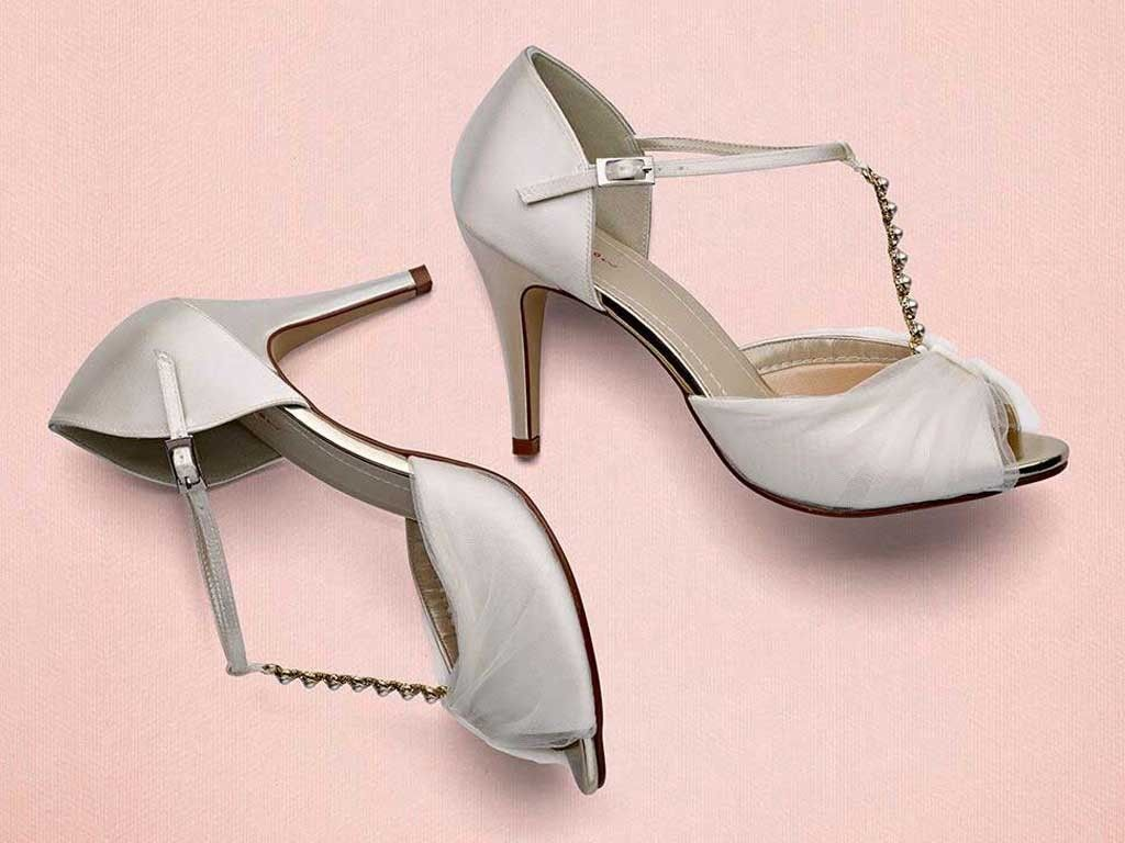 a4c752eb7fbee ... style and comfort with the romantic peep toe sandal from Rainbow Club,  with Ivory Italian Tulle rouching as well a pearl and diamante embellished T -bar.
