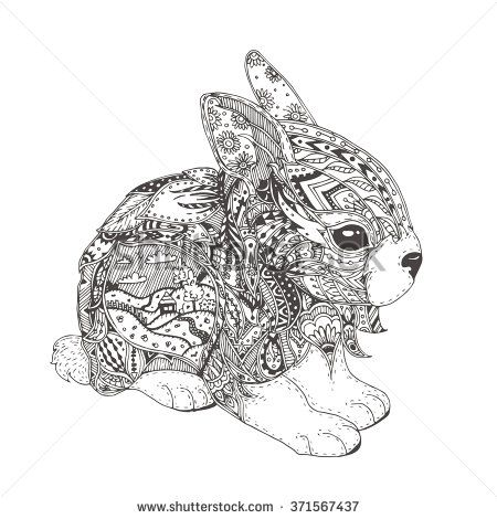 Hand Drawn Bunny With Ethnic Floral Doodle Pattern Coloring Page