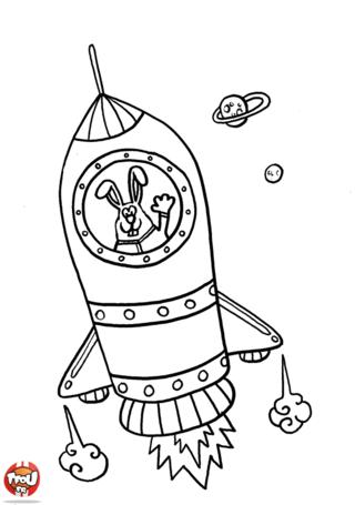 Coloriage la fus e du lapin astronaute alsh jungle pinterest la fus e fus e et astronaute - Dessin d une fusee ...