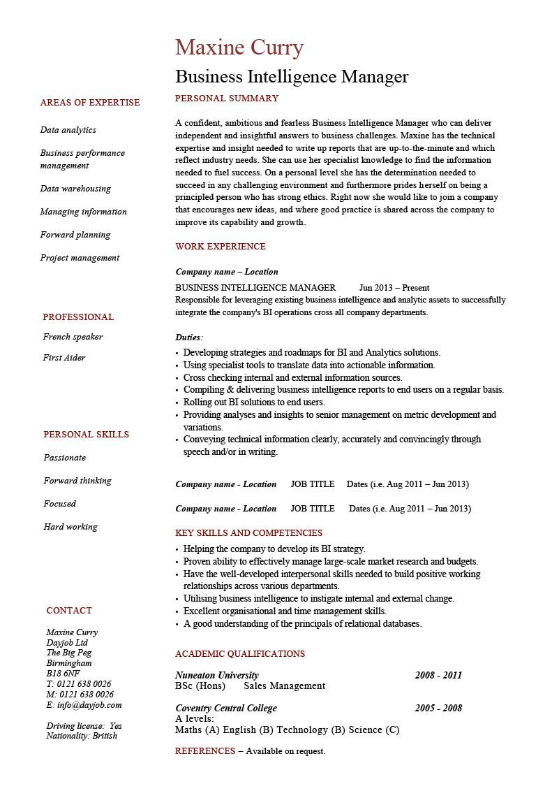 Business Intelligence Manager Resume 1 Job Resume Examples