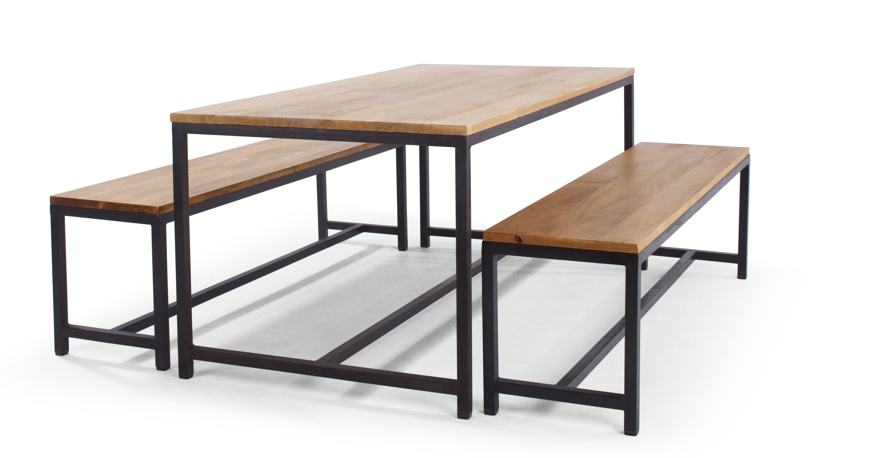 Lomond Ensemble Table Et 2 Bancs Bois De Manguier Et Metal Noir