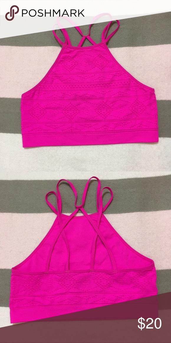 7a26c3a48a80a VS Hot Pink Strappy Seamless Sports Bra NWT Victorias Secret Bralette. SIZE