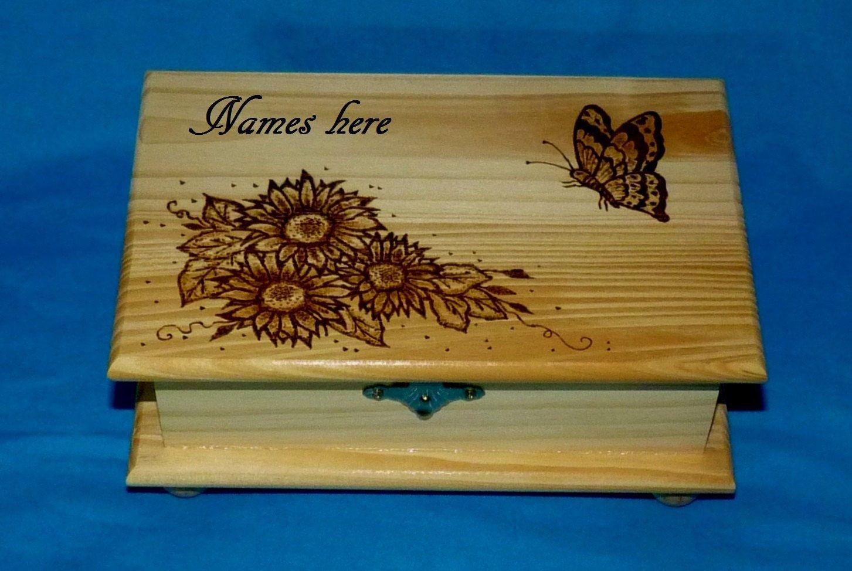 Personalized Custom Wood Burned Sunflower Jewelry Keepsake