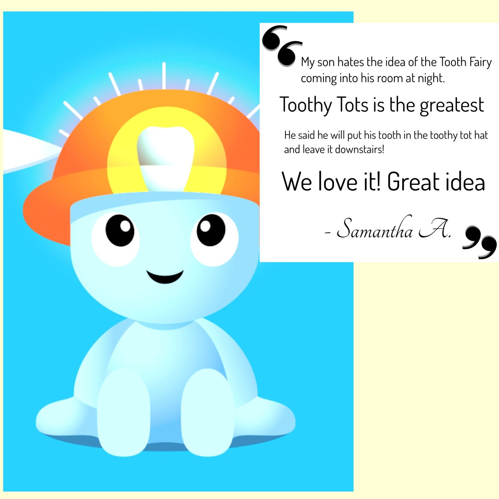 Thank you Samantha for your review!! #mytoothytots #customerreview #happycustomer  #childrensbooks #toothfairy #healthyteeth #healthygums #oralhygiene #kids #teaching #teeth #learning #dentist #brushyourteeth #lostatooth #toothholder #toothfairytime #toothfairyiscomingtonight #oralhealth #tooth #cleanteeth #healthysmile #happyteeth #nationaldentalassociation