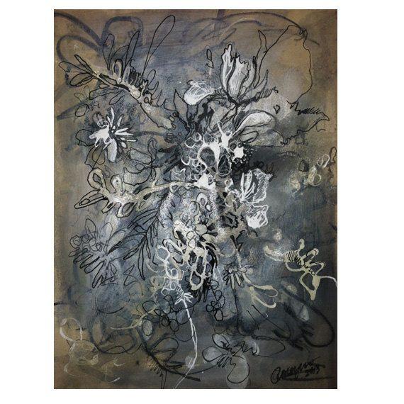 Abstract drawing mixed media (etsy)