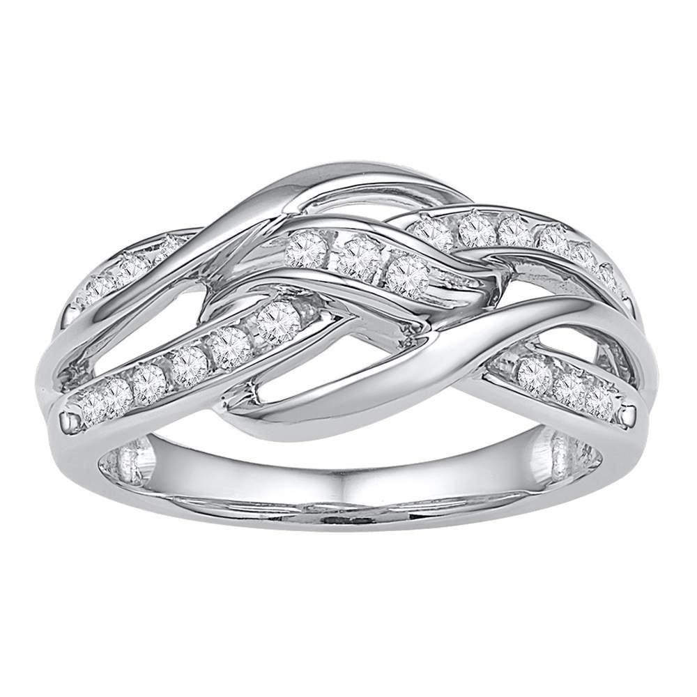10kt White Gold Women S Round Diamond Woven Knot Strand Band 1 4 Cttw Free Shipping Us Can Round Diamonds Diamond Weave White Gold