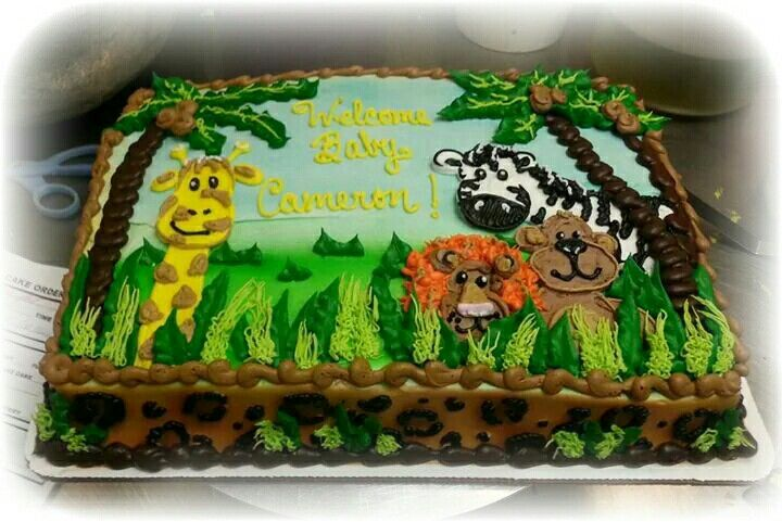 Jungle Themed Baby Shower Sheet Cake Design In Buttercream With