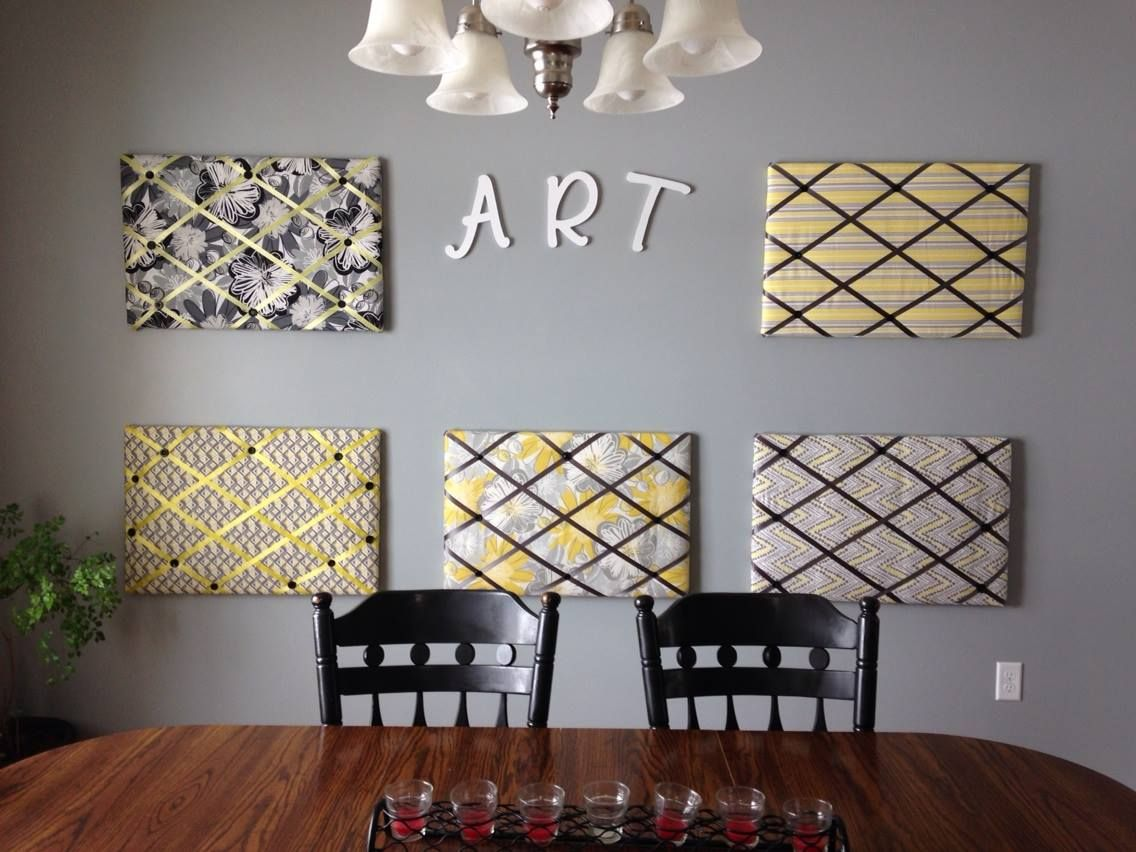 Fun Art Wall!!! With 5 kids we needed a special wall to show off all their work. 5 home made push pin boards and the letters ART...everything was purchased at Joann Fabric.