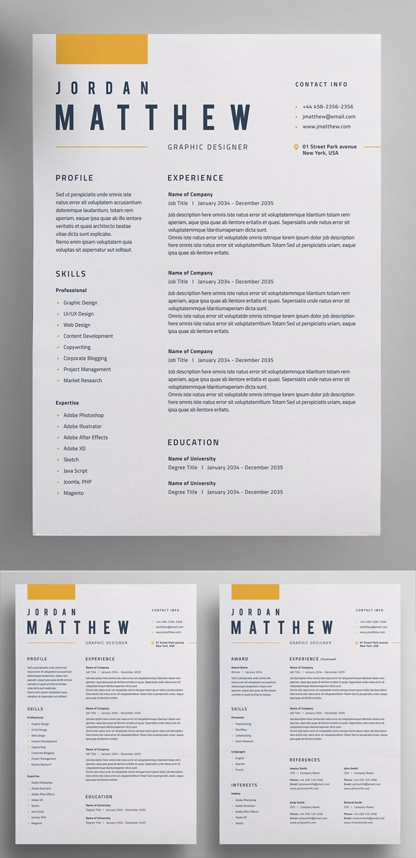 Resume Templates with Cover Letters - Graphic resume, Graphic design resume, Cv resume template, Resume design template, Resume design professional, Resume design creative -  Resume Templates for lasting impression  In current employment market, only eyecatching clean and creative Resumes can stay