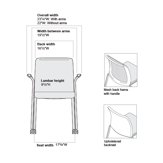Living Room Seating Dimensions: Reply Mesh-Back Guest Chair Product Dimensions