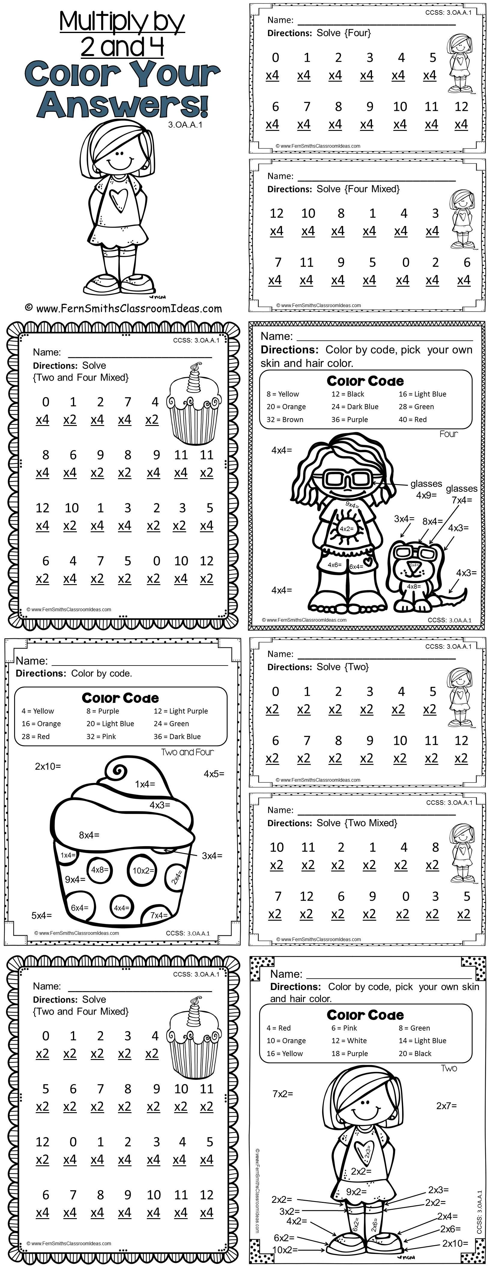 3rd Grade Go Math Chapter Four 4 1 Color By Numbers