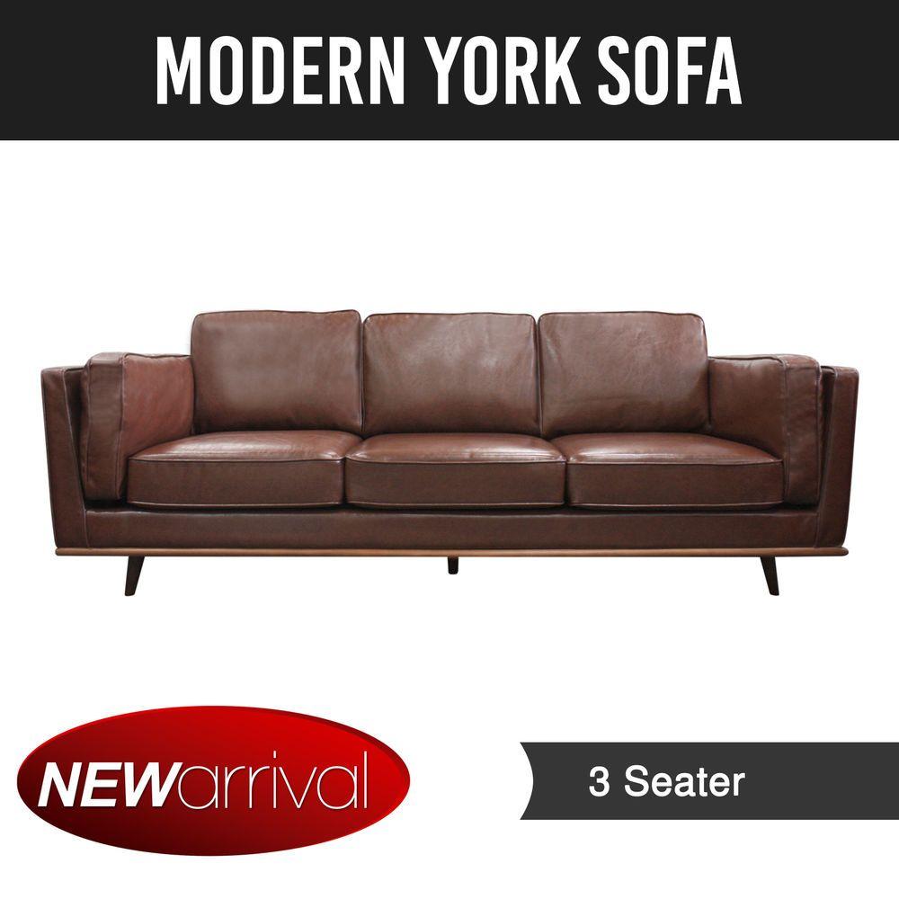 3 Seater Sofa Brown Colour Wooden Frame York ✪ Pre Sale ✪ ETA  19th Jan