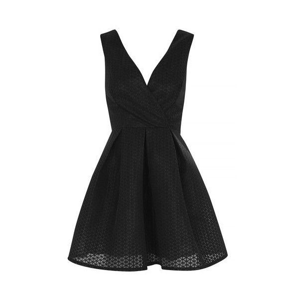 Textured Plunge Skater Prom Dress by Oh My Love (52.555 CLP ...