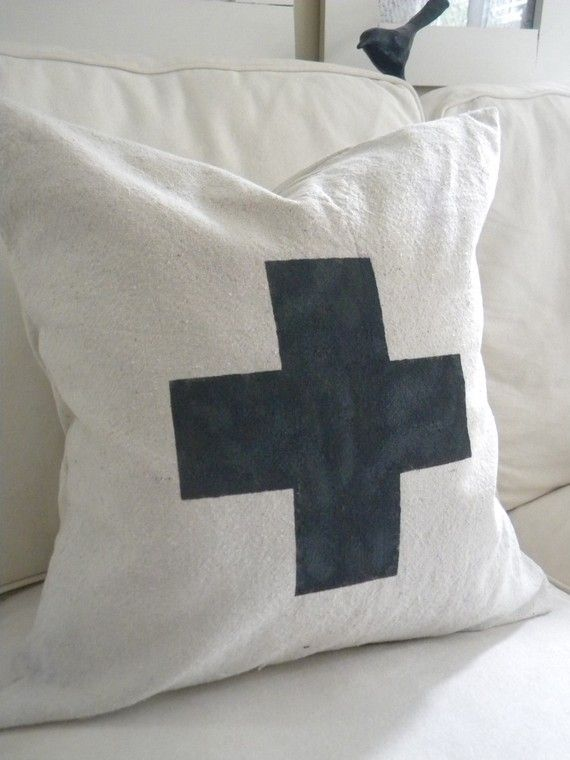 Utilitarian Farmhouse Grain Sack Charcoal /Black Swiss Army Cross Pillow Cover Natural