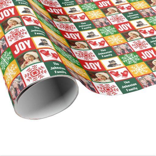 Christmas Joy Snowflake Add Your Own Family Photos Gift Wrap