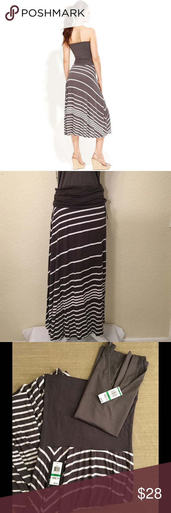 """NWT INC Gray Striped """"Convertible"""" Dress Sz L.  Can be worn as a dress or skirt!  MSRP $69.  Length: 44"""".  15"""" with across top solid grey band.  Waist: 34"""".  Bottom: 120"""" around.  Poly/rayon/spandex blend.  Machine wash cold.      Selling matching Grey """"Convertible"""" Tank Top.  Can be worn as a scoop or v-neck.  Purchase as a set for $32 - 20% off combined price! Please message me if you'd like to buy both.     Love it but not the price - I'm open to (reasonable) offers or consider bundling 2…"""
