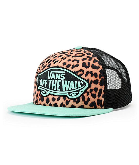 5d98da836b The Vans Girls Beach Girl Mint Leopard trucker hat blends fierce comfort  with minty fresh styling. Make a fashion statement in a leopard print  padded front ...