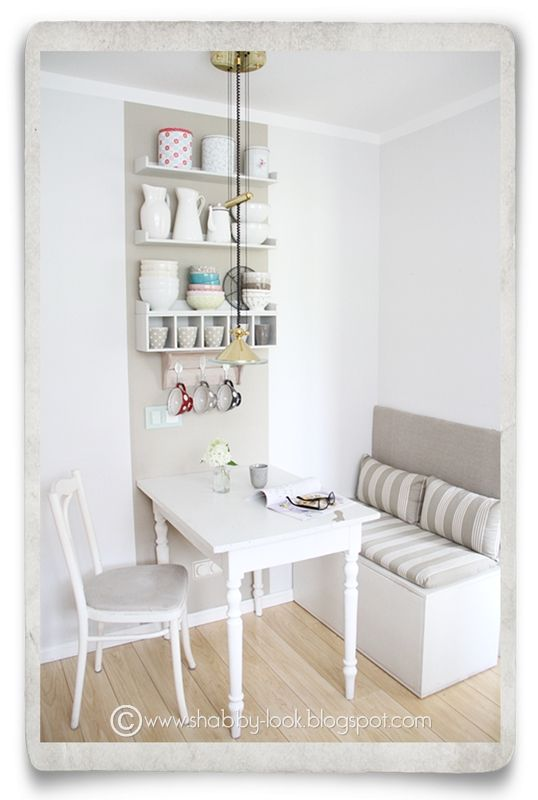 Shabby Look: DIY in the Kitchen Nook--cute! Looks like they took kids toy boxes! #tinykitchens