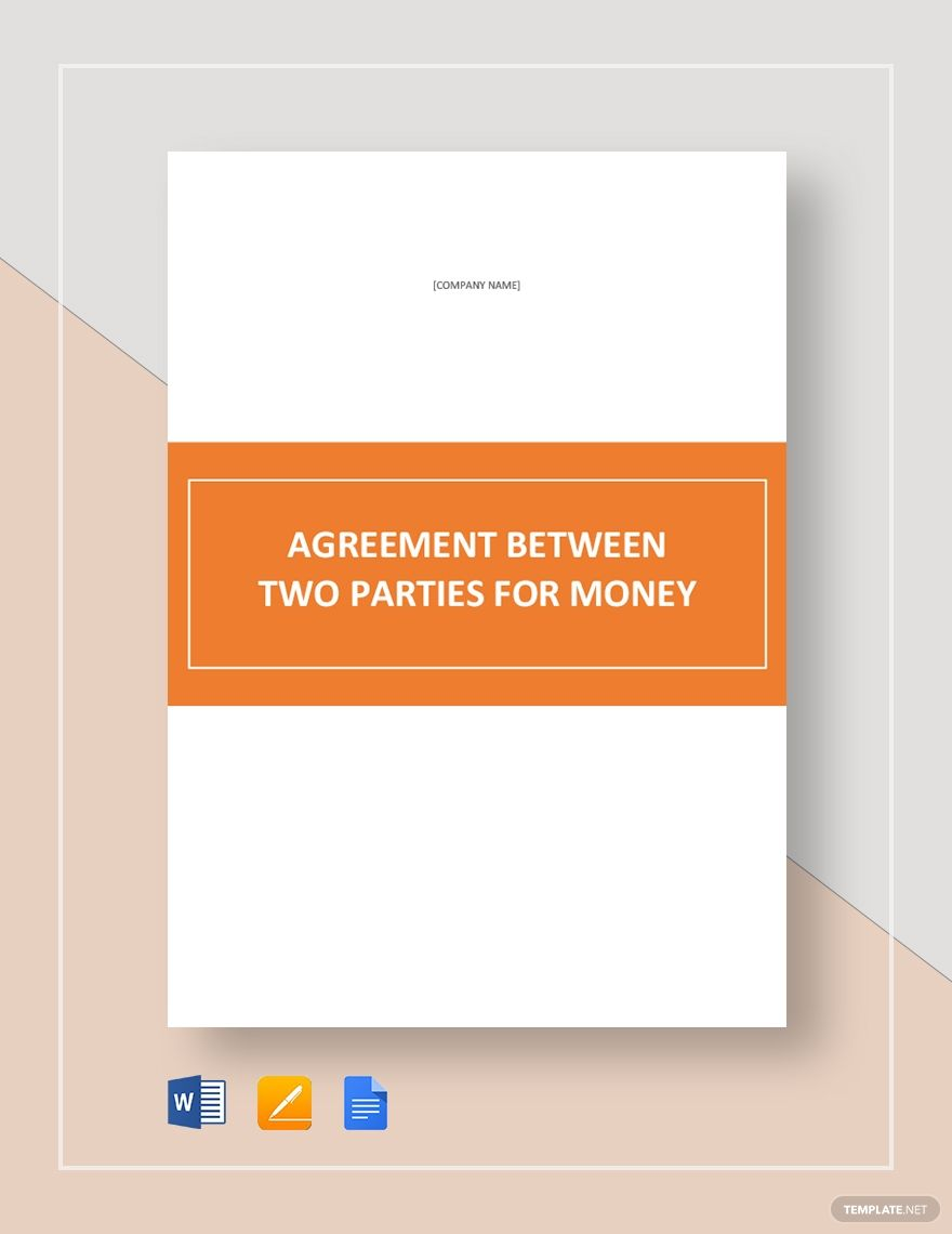 Agreement Between Two Parties For Money Agreement