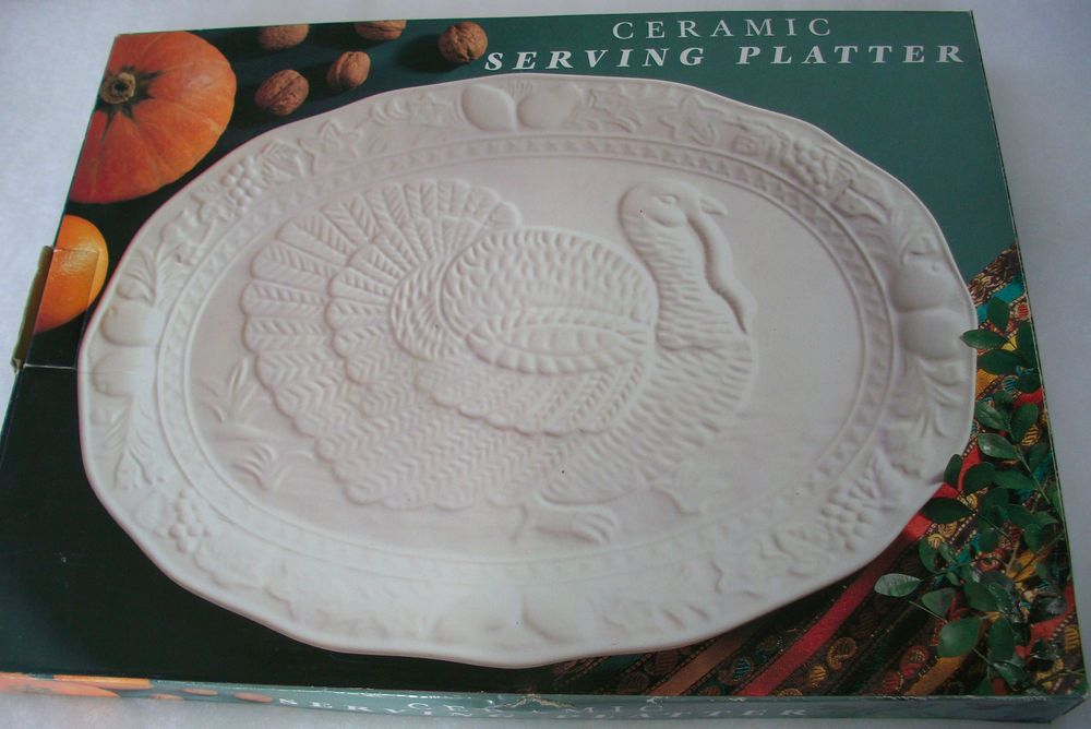 Large White Ceramic Turkey Platter Ebay Turkey Platter White Ceramics Platters