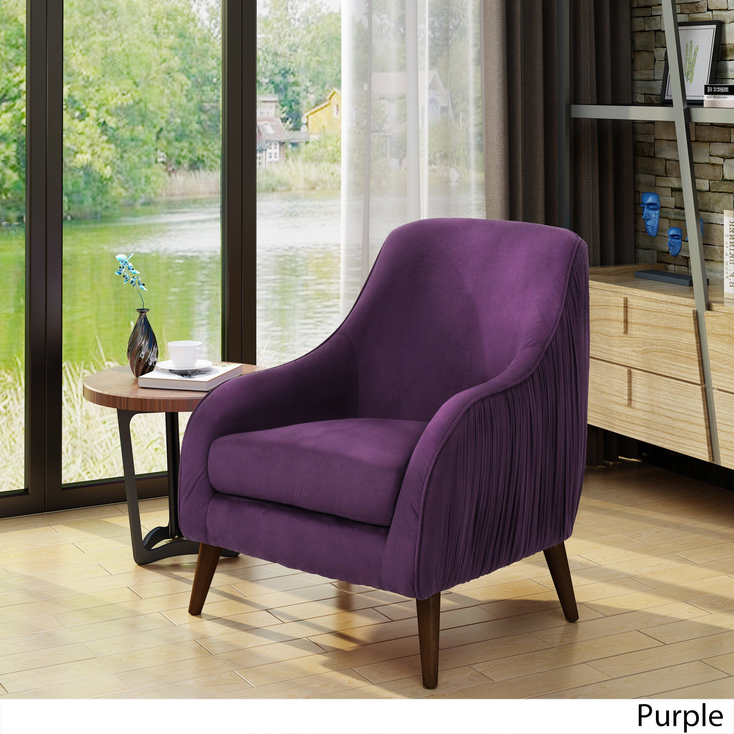 Bertie Mid Century Modern Velvet Chair by Christopher