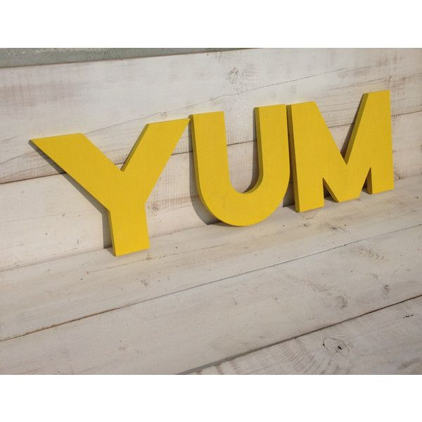 Yum Sign ($22) ❤ liked on Polyvore featuring home, home decor, wall ...