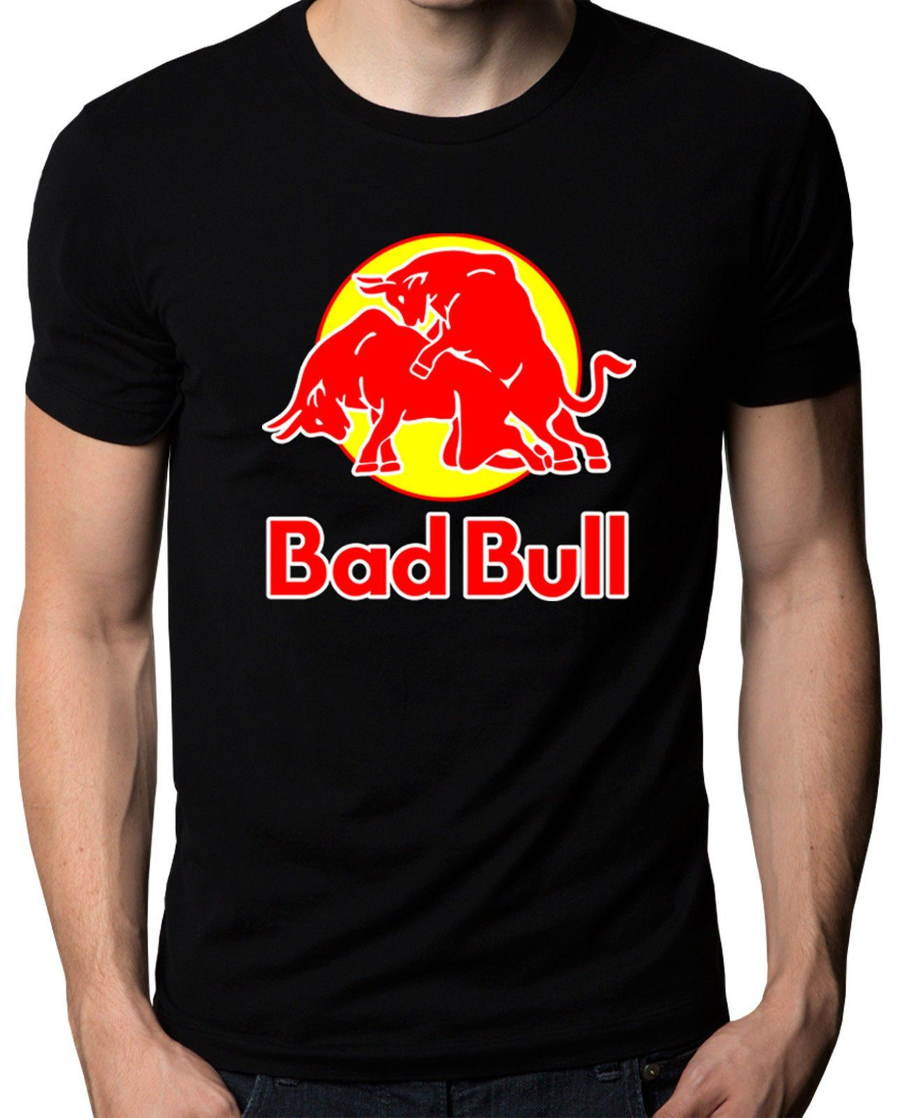 Good quality black t shirt - Bad Bull Funny Red Bull Logo Sex Graphic Parody Mens Womens T Shirt Color