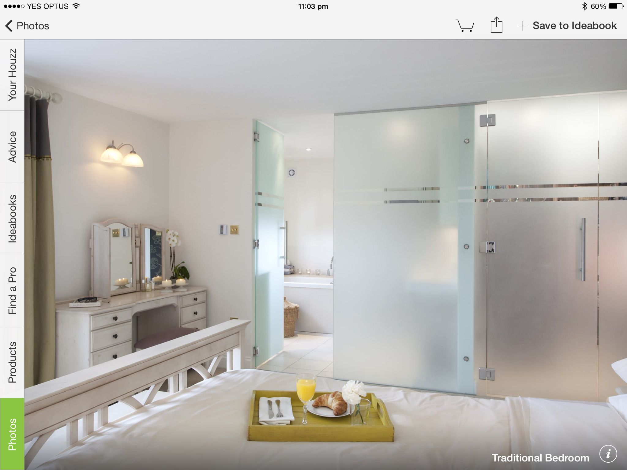Enclosed bathroom light - An Opaque Glass Enclosed Ensuite Allowing Light Flow Through Both Bedroom And Bath