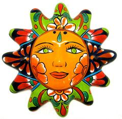 Mexican Wall Hanging Talavera Pottery Sun Face Elementary