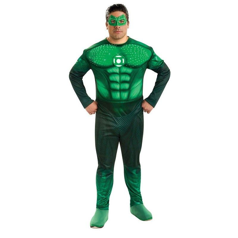 Deluxe Hal Jordan Green Lantern Adult Costume Deluxe Hal Jordan Green Lantern Adult CostumeYou'll be ready to save the day or night in this deluxe light up Green Lantern costume. Be transformed into the Superhero you were born to be, In this hal jordan costume!!Item Includes: Muscle Chest Jumpsuit With Fiber Optic Lights Eyemask RingOfficially Licensed Green Lantern productPlease Note:Our products come with the items listed in the above product description. For accessories shown in the photo, pl