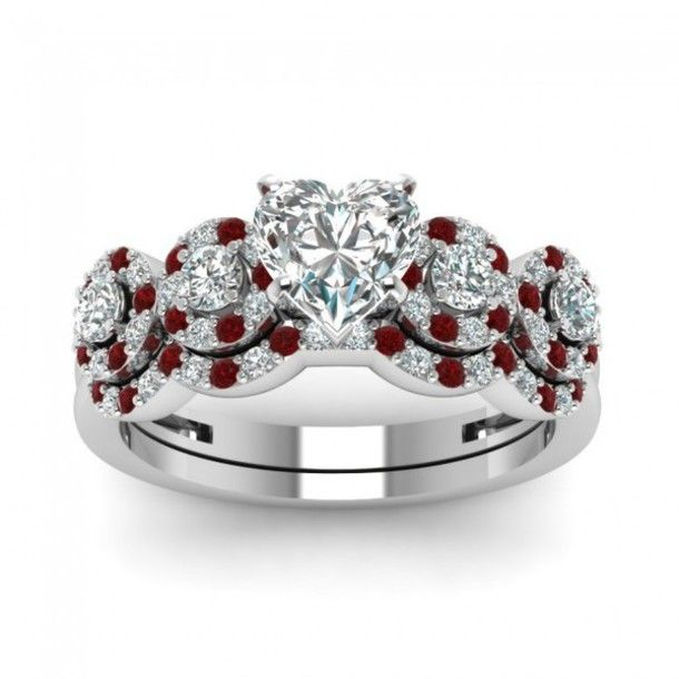 heart shaped ruby wedding ring google search - Ruby Wedding Ring Sets