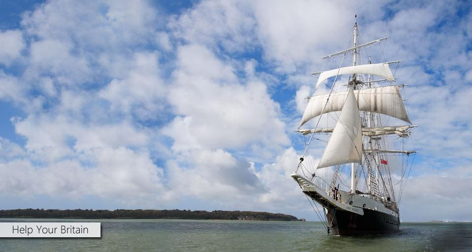 STS Lord Nelson photographed off the coast of Southampton as part of Bing Help Your Britain