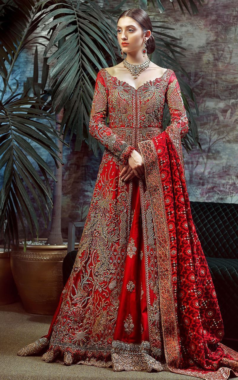Tradition red designer bridal dress by Pakistani wedding dresses ...