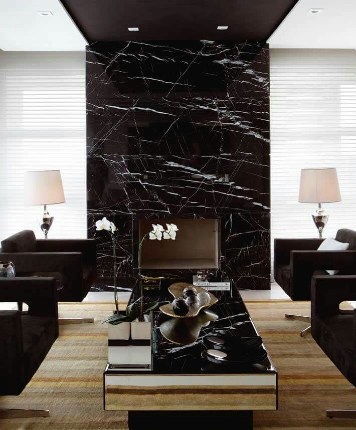 Gorgeous Accent Wall | Marble fireplaces, Fireplace design, Modern ...