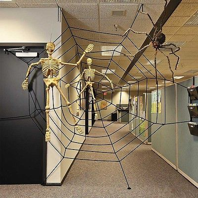 3 Size Giant Spiders Web Cobweb Halloween Decor Haunted House Party - halloween house decorating ideas