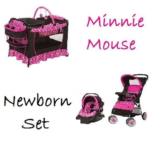Minnie Mouse Newborn Set Pink Baby Girl Disney Stroller Car Seat Pack And Play