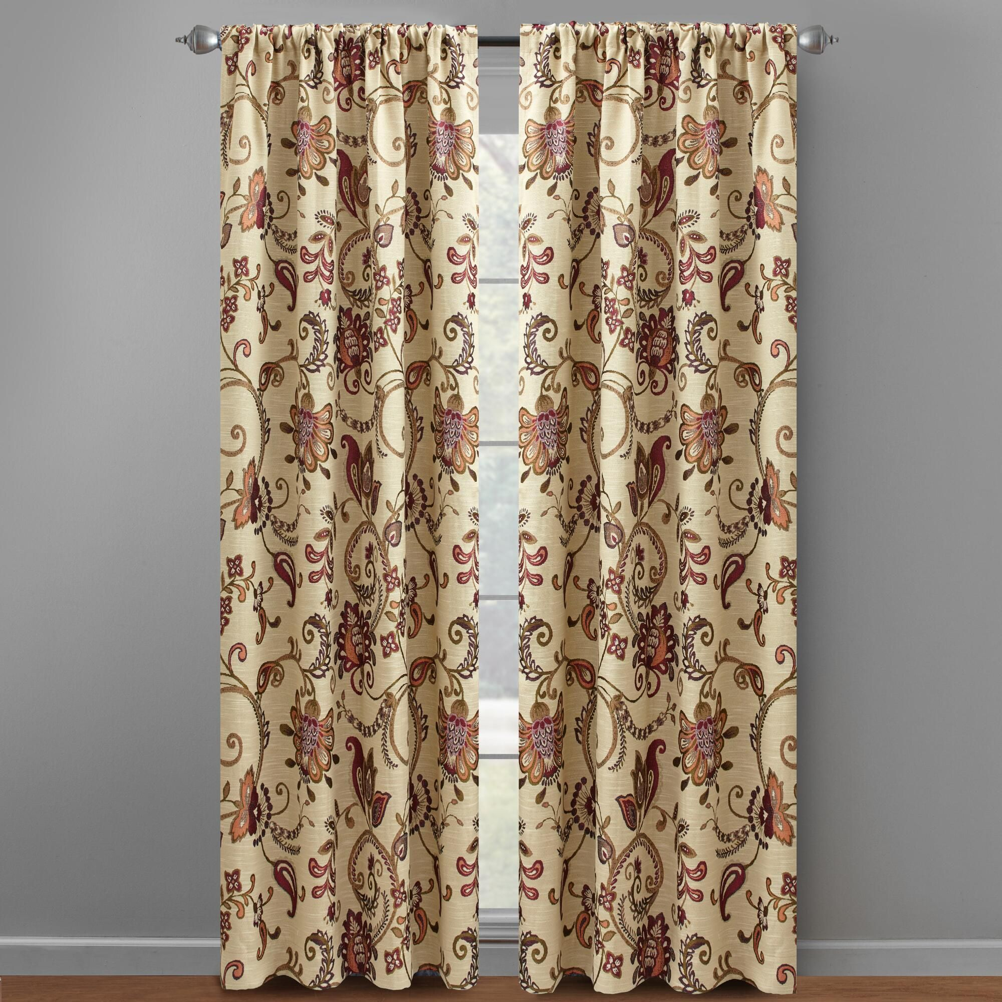 16 Pair 84 Paisley Floral Jacquard Window Curtains, Set Of