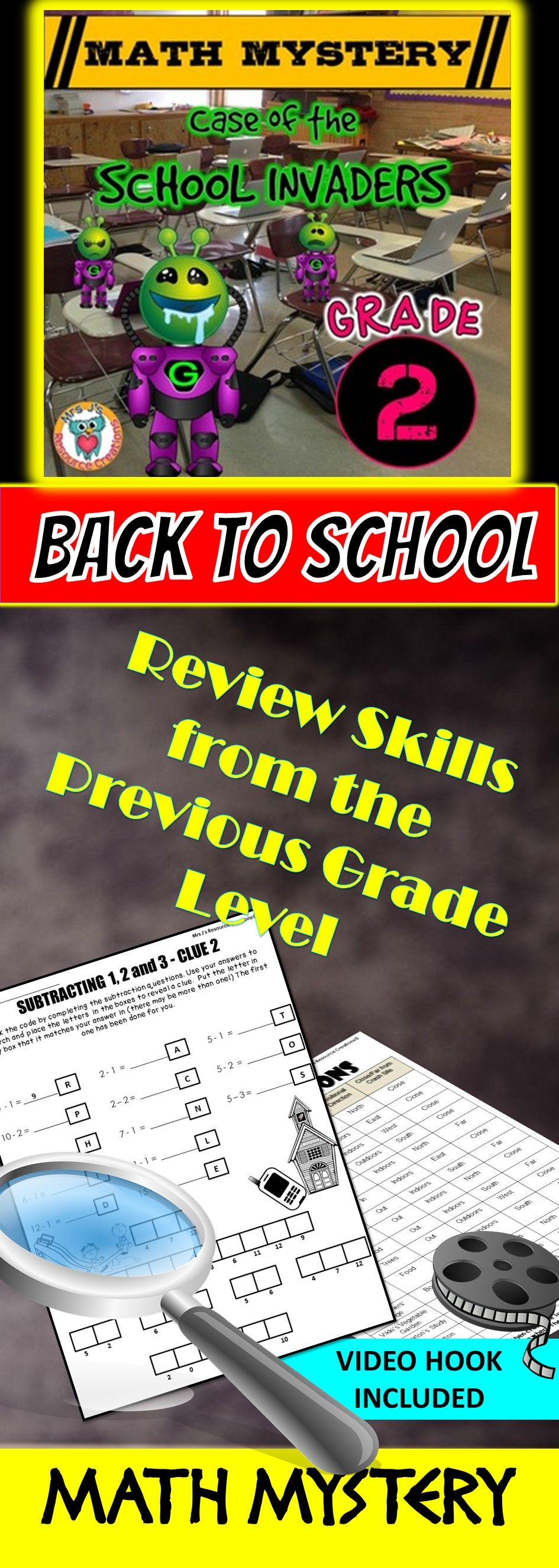 Back To School Math Mystery Case Of The School Invaders Second Grade Edition Great For A Fun Way To As Math Mystery 1st Grade Math Worksheets 1st Grade Math [ 2653 x 945 Pixel ]