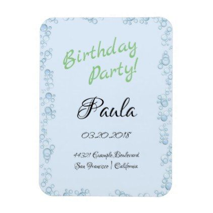 Blue bubble birthday party invitation magnet bubble birthday parties filmwisefo Choice Image